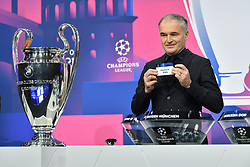 NYON, SWITZERLAND - Monday, December 14, 2020: Special guest Stéphane Chapuisat draws out Chelsea FC during the UEFA Champions League 2020/21 Round of 16 draw at the UEFA Headquarters, the House of European Football. (Photo Handout/UEFA)