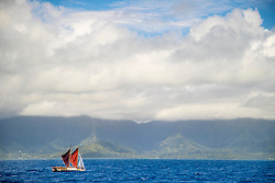 Friday June 16, 2017. Oahu, Hawaii. Hōkūleʻa's Homecoming after voyaging around Island Earth will be happening Saturday, June 17, 2017. These images were taken as the voyagers quietly sailed off the coast of Oahu before they are greeted by an estimated crowd of 100,000 tomorrow at Magic Island, Oahu.