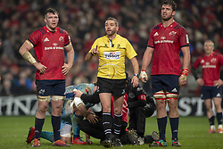 January 19, 2019 - Limerick, Ireland - Peter O'Mahony and Jean Kleyn of Munster pictured with referee  Jerome Garces during the Heineken Champions Cup match between Munster Rugby and Exeter Chiefs at Thomond Park in Limerick, Ireland on January 19, 2019  (Credit Image: © Andrew Surma/NurPhoto via ZUMA Press)