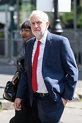 © Licensed to London News Pictures. 03/06/2018. London, UK. Shadow Home Secretary Diane Abbott and Leader of the Labour Party Jeremy Corbyn arriving at Southwark Cathederal for a service of commemoration to mark one year since the London Bridge and Borough Market terror attacks. A series of events have taken place throughout the day, including a service of commemoration at Southwark Cathedral, the planting of an olive tree in the Cathedral grounds, a minute's silence at 4:30pm and the laying of flowers.  Photo credit : Tom Nicholson/LNP