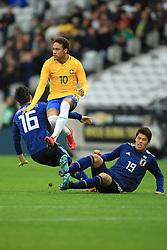 10 November 2017 -  International Friendly - Japan v Brazil - Neymar of Brazil in action with Hotaru Yamaguchi and Hiroki Sakai of Japan - Photo: Marc Atkins/Offside