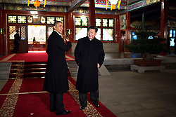 President Barack Obama gestures as he and President Xi Jinping of China arrive for a bilateral meeting at Zhong Nan Hai in Beijing, China, Nov. 11, 2014. (Official White House Photo by Pete Souza)<br /> <br /> This official White House photograph is being made available only for publication by news organizations and/or for personal use printing by the subject(s) of the photograph. The photograph may not be manipulated in any way and may not be used in commercial or political materials, advertisements, emails, products, promotions that in any way suggests approval or endorsement of the President, the First Family, or the White House.