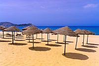 Beach umbrellas at the Mediterranean Sea, Hotel Mehari Beach, Tabarka, Tunisia