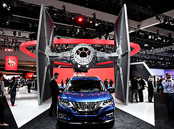 Nov 16, 2016. Los Angeles CA. Nissan booth go's rogue one with life size Tie Fighter from the new star wars movie coming out, during the media day at the Los Angeles Auto show Wednesday. The show opens to the public on Nov 18th to the 27th. photos by Gene Blevins/LA DailyNews/ZumaPress. (Credit Image: © Gene Blevins via ZUMA Wire)