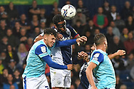 West Bromwich Albion defender Darnell Furlong (2) heads the ball  at goal during the EFL Sky Bet Championship match between West Bromwich Albion and Derby County at The Hawthorns, West Bromwich, England on 14 September 2021.