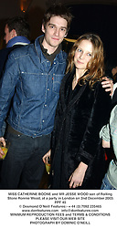 MISS CATHERINE BOONE and MR JESSE WOOD son of Rolling Stone Ronnie Wood, at a party in London on 2nd December 2003.PPF 45
