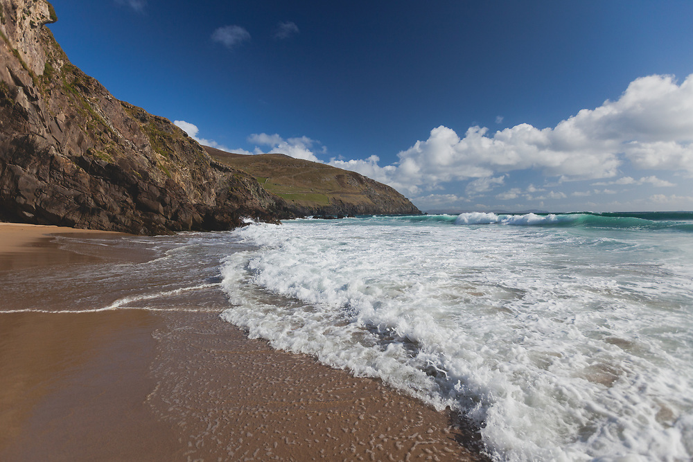 Waves rolling into Ventry Beach on a beautiful springtime afternoon.