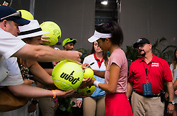 March 23, 2019 - Miami, FLORIDA, USA - Su-Wei Hsieh of Chinese Taipeh signs autographs after winning her third-round match at the 2019 Miami Open WTA Premier Mandatory tennis tournament (Credit Image: © AFP7 via ZUMA Wire)