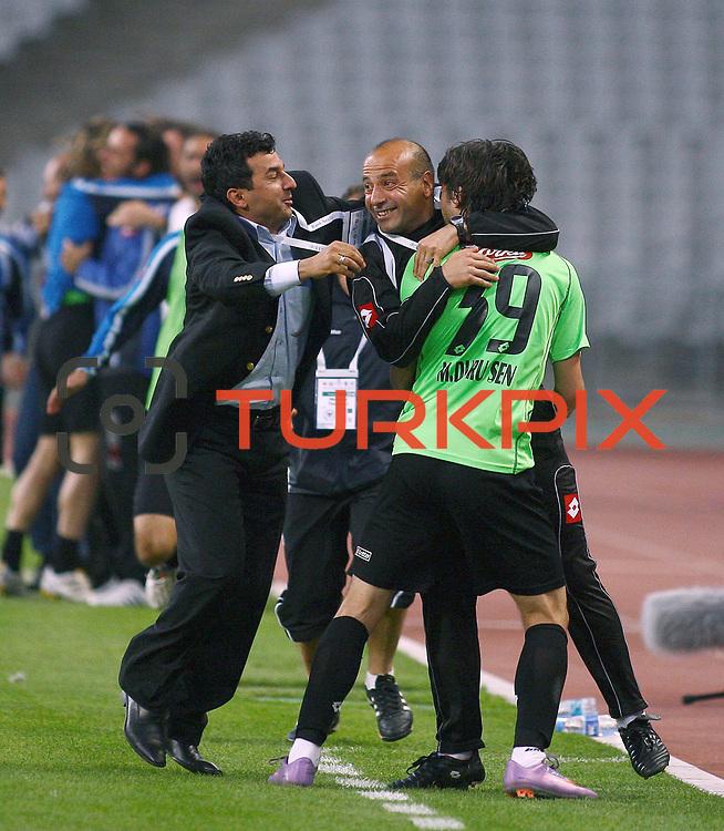Konyaspor's players celebrate goal during their Turkish soccer Play Off final match Altayspor between Konyaspor at Ataturk Olympic Stadium in Istanbul Turkey on Sunday, 23 May 2010. Photo by TURKPIX