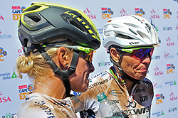 ROBERTSON, SOUTH AFRICA - MARCH 19: From left, Robyn de Groot and Sabine Spitz at the finish of stage one's 110km from Robertson on March 19, 2018 in Cape Town, South Africa. Mountain bikers from across South Africa and internationally gather to compete in the 2018 ABSA Cape Epic, racing 8 days and 658km across the Western Cape with an accumulated 13 530m of climbing ascent, often referred to as the 'untamed race' the Cape Epic is said to be the toughest mountain bike event in the world. (Photo by Dino Lloyd)