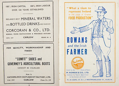 All Ireland Senior Hurling Championship Final,.Brochures,.09.02.1951, 02.09.1951, 2nd September 1951,.Wexford 3-9, Tipperary 7-7,.Minor Cork v Galway, .Senior Wexford v Tipperary, .Croke Park, ..Advertisements, Mineral Waters and Bottled Drinks Corcoran & Co. Ltd., Comfit Shoes and Governey's Agricultural Boots Catherlogh Castle Boot Factory Ltd., M. Rowan and Co. Ltd. Seedsman by Popular Appointment to the Farmers of Ireland,