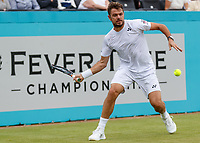 Tennis - 2019 Queen's Club Fever-Tree Championships - Day Three, Wednesday<br /> <br /> Men's Singles, First Round: Daniel Evans (GBR) Vs. Stan Wawrinka (SWI)<br /> <br /> Stan Wawrinka (SWI)) in action before rain stopped play on Centre Court.<br />  <br /> COLORSPORT/DANIEL BEARHAM