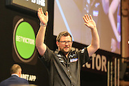 James Wade takes to the stage during the First Round of the BetVictor World Matchplay Darts at the Empress Ballroom, Blackpool, United Kingdom on 19 July 2015. Photo by Shane Healey.