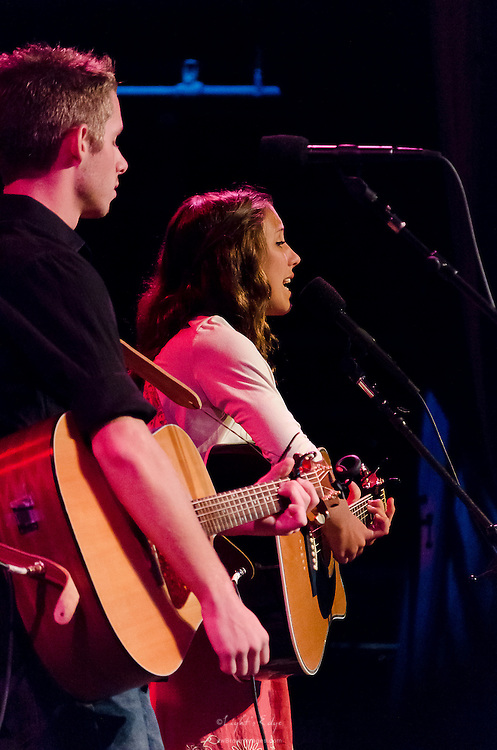Mia Bergmann accompanied by Dylan Martello performing at the Ocean City Music Pier as the opening act for The Bacon Brothers.