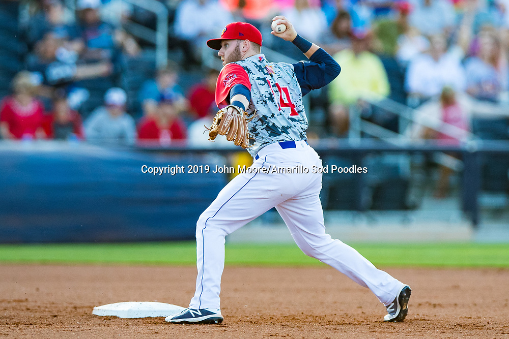 Amarillo Sod Poodles infielder Owen Miller (14) throws the ball to first base against the Northwest Arkansas Travelers on Monday, July 22, 2019, at HODGETOWN in Amarillo, Texas. [Photo by John Moore/Amarillo Sod Poodles]