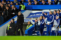 Jose Mourinho (POR), seeking his 100th Barclays Premier League win as Chelsea manager, punches the air after Forward Samuel Eto'o (CMR) scores his 3rd goal during the match - Photo mandatory by-line: Rogan Thomson/JMP - Tel: 07966 386802 - 19/01/2014 - SPORT - FOOTBALL - Stamford Bridge, London - Chelsea v Manchester United - Barclays Premier League.