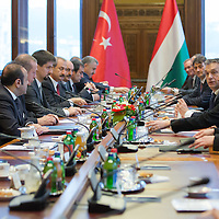 Recep Tayyip Erdogan Prime Minister of Turkey and his counterpart Viktor Orban talk during their meeting in Budapest, Hungary on February 05, 2013. ATTILA VOLGYI
