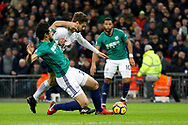 West Bromwich Albion defender Ahmed Hegazy (26) tackles Tottenham Hotspur forward Fernando Llorente (18) during the Premier League match between Tottenham Hotspur and West Bromwich Albion at Wembley Stadium, London, England on 25 November 2017. Photo by Andy Walter.