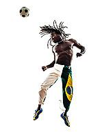 one Brazilian black man soccer player heading football on white background silhouette
