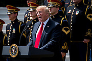 """President Donald Trump speaks during a """"Celebration of America"""" event on the South Lawn of the White House on June 5, 2018 in Washington, DC. The celebration is being staged as a replacement for a White House visit by the Super Bowl champion Philadelphia Eagles. Some of the team was planning on boycotting the event due to the President's stance on players kneeling during the National Anthem at NFL games, so Trump resented their invitation.      Photo by Pete Marovich/UPI"""