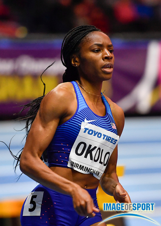Courtney Okolo (USA) runs a time of 51.54 in the Women's 400m heats during the morning session of the  IAAF World Indoor Championships at Arena Birmingham in Birmingham, United Kingdom on Friday, Mar 2, 2018. (Steve Flynn/Image of Sport)