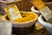 Fresh Morrocan Ras El Hanout is sold at an outdoor market in Gordes, France