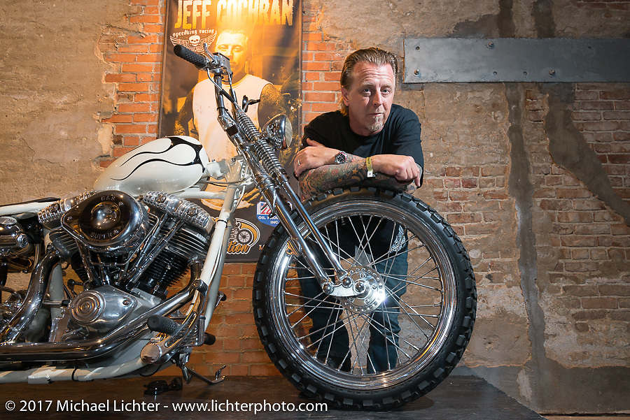 Jeff Cochran of Speedking Racing at the In Motion invitational bike show at the Lone Star Rally. Galveston, TX. USA. Friday November 3, 2017. Photography ©2017 Michael Lichter.
