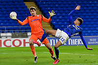 Football - 2019 / 2020 Emirates FA Cup - Fourth Round, Replay: Cardiff City vs. Reading<br /> <br /> Josh Murphy of Cardiff shoots at goal ipast Sam Walker of Reading n extra time, at the Cardiff City Stadium.<br /> <br /> COLORSPORT/WINSTON BYNORTH