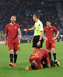 October 14, 2017 - Rome, Italy - Gianluca Rocchi, Daniele De Rossi, Lorenzo Pellegrini, Alessandro Florenzi during the Italian Serie A football match between A.S. Roma and S.S.C. Napoli at the Olympic Stadium in Rome, on october 14, 2017. (Credit Image: © Silvia Lor/Pacific Press via ZUMA Wire)