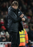 Football - 2017 / 2018 Premier League - Arsenal vs. Chelsea<br /> <br /> A fearsome looking Antonio Conte, Manager of Chelsea FC, at The Emirates.<br /> <br /> COLORSPORT/DANIEL BEARHAM