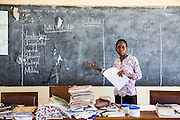 Local teacher Rebecca Ngovano during a training session for all the teachers in the school to improve teaching methodologies in classrooms. Angaza school, Lindi, Tanzania