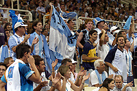 26/08/04 - ATHENS  - GREECE -  - BASKETBALL QUARTERFINAL MATCH   - Indoor Olympic Stadium - <br />ARGENTINA win (69) over GREECE (64) <br />Argentine celebration after win the match.<br />Argnetine supporters / fans celebration.<br />© Gabriel Piko / Argenpress.com / Piko-Press