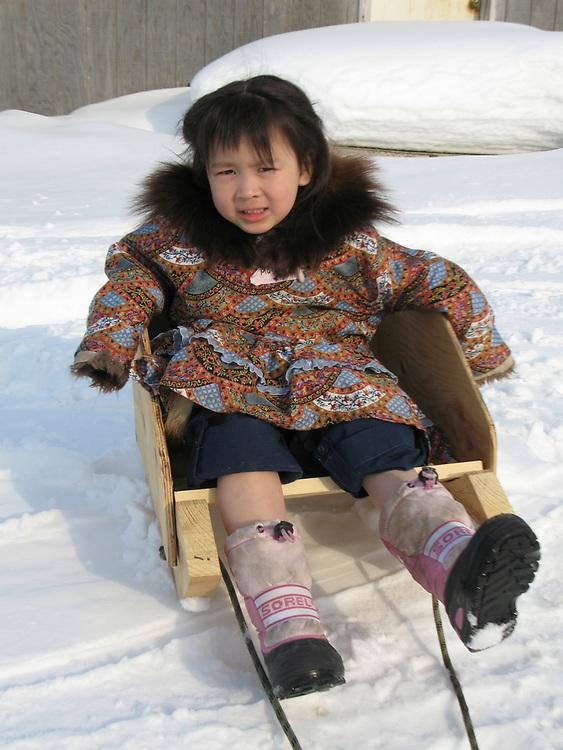 Barrow, Alaska, USA. Inupiaq girl, Lina Hopson on sled. Spring.
