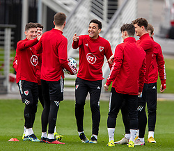 CARDIFF, WALES - Monday, March 29, 2021: Wales' Ben Cabango (C) and Harry Wilson (L) during a training session at the Vale Resort ahead of the FIFA World Cup Qatar 2022 Qualifying Group E game against the Czech Republic. (Pic by David Rawcliffe/Propaganda)