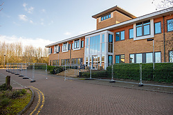 © Licensed to London News Pictures. 08/02/2020. Milton Keynes, UK. A perimeter fence installed around a building at the Kents Hill Park Training and Conference Centre. A Milton Keynes conference centre is to house evacuees from the Chinese city of Wuhan, the epicentre of the Novel Coronavirus (2019-nCoV) outbreak, the British citizens are due to be flown back on Sunday 9th February and are expected to land at RAF Brize Norton in Oxfordshire and will remain at the conference centre for 14 days to be monitored. Photo credit: Peter Manning/LNP