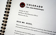 A letter from Colorado's Governor John Hickenlooper to Amazon.com Inc. CEO Jeff Bezos is seen in Colorado's proposal for the Amazon second headquarters in Golden, Colorado U.S. November 27, 2017. REUTERS/Rick Wilking
