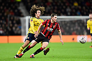 Dan Gosling (4) of AFC Bournemouth battles for possession with Matteo Guendouzi (29) of Arsenal during the The FA Cup match between Bournemouth and Arsenal at the Vitality Stadium, Bournemouth, England on 27 January 2020.