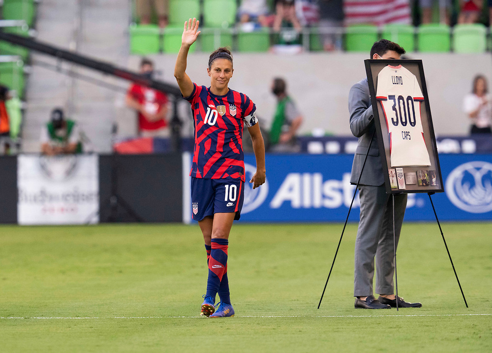 Captain CARLIE LLOYD waves to the crowd after being recognized for her 300th match with Team USA before the US Women's National Team (USWNT) beats Nigeria, 2-0 in the inaugural match of Austin's new Q2 Stadium. The U.S. women's team, an Olympic favorite, is wrapping up a series of summer matches to prep for the Tokyo Games.