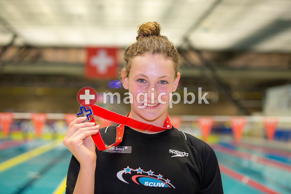 Jill BENNE of Switzerland poses with her Silver medal after finishing second in the women's 800m Freestyle Fastest Heat during the Swiss Swimming Championships at the Piscine des Vernets in Geneva, Switzerland, Saturday, March 14, 2015. (Photo by Patrick B. Kraemer / MAGICPBK)
