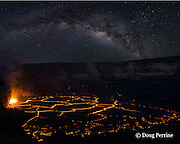 hot lava fountains at subduction zones in a lava lake in the Overlook Vent pit within Halemaumau Crater, at the summit of Kilauea Volcano in Hawaii Volcanoes National Park, Hawaii Island ( the Big Island ), Hawaii, U.S.A.; the Milky Way fills the night sky in the background (image composite)