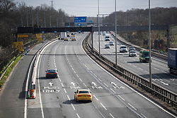© Licensed to London News Pictures. 13/03/2020. Langley, UK. Light traffic on the M4 junction 5 at Langley in Berkshire, shortly after 9am, the morning after PM Boris Johnson announced further measures to tackle Coronavirus. New cases of the COVID-19 strain of Coronavirus are being reported daily as the government outlines it's plans for delaying the outbreak. Photo credit: Ben Cawthra/LNP