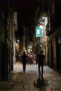Nightlife in the streets of Santiago de Compostela in Galicia, Northern Spain