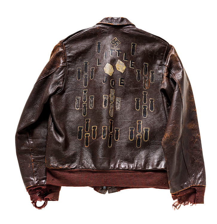 Original A-2 jacket that belonged to Mr. Bob Mitchell, Jr. of Trussville, Alabama. He flew 38 combat missions wearing this jacket.  The swastika denotes the shoot down of a German ME-109 fighter plane.
