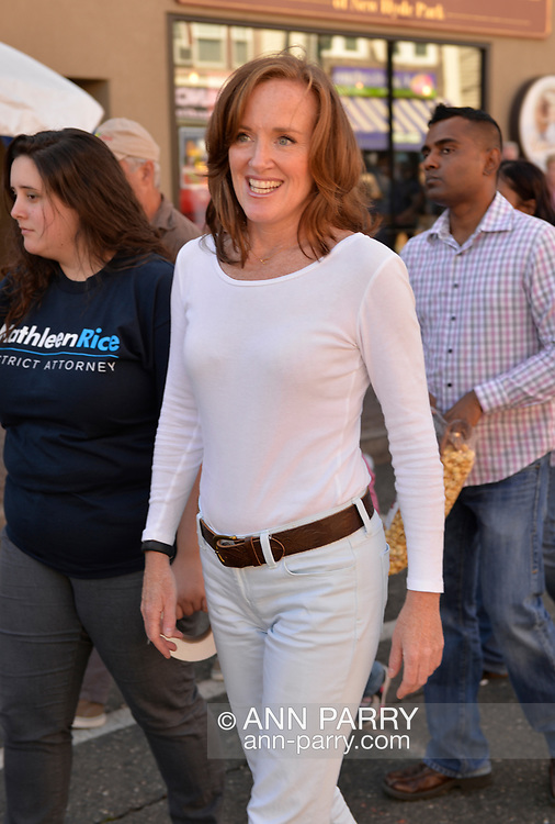 Bellmore, New York, U.S. 22nd September 2013.  Nassau County District Attorney KATHLEEN RICE (Democrat), running for re-election in November to a third term in office, makes a campaign stop to the 27th Annual Bellmore Family Street Festival, featuring family fun with exhibits and attractions in a 25 square block area, with over 120,000 people expected to attend over the weekend.