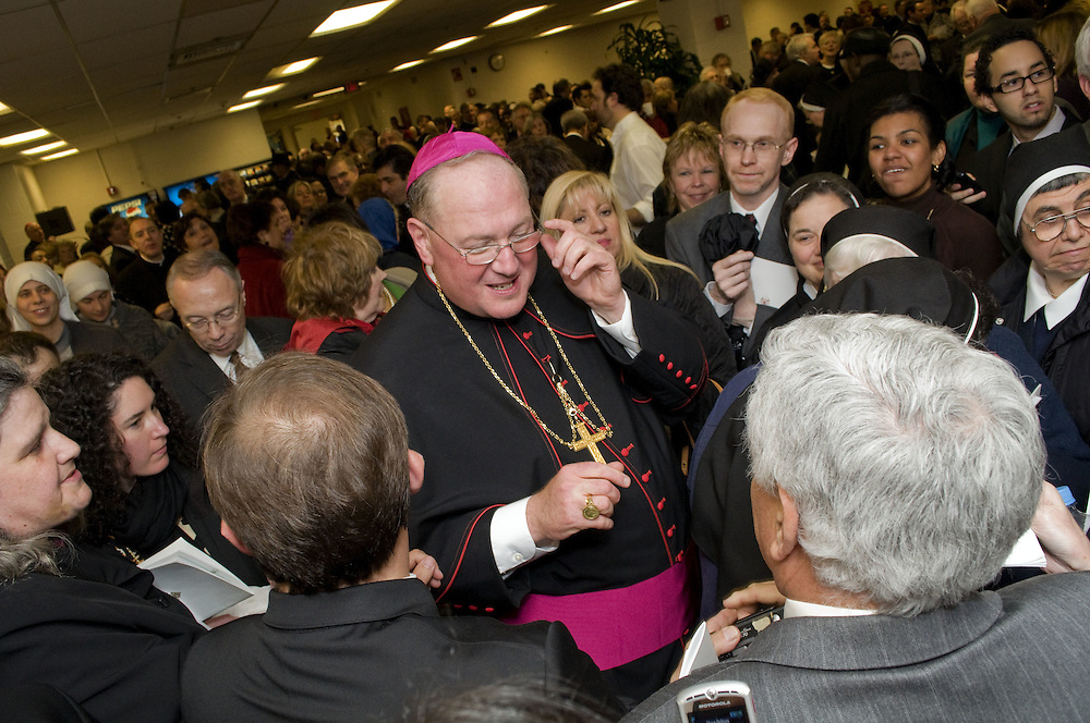 Archbishop Dolan greets an almost endless amount of supporters during the reception after Vespers, Tuesday April 14 2009.  Archbishop Dolan extended an invitation to all those who were in attendance at Vespers.