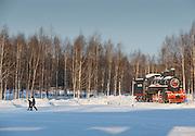 Steam Locomotive number: EA-3246 on Display outside Tynda Railway station, Amur region. Siberia, Russia
