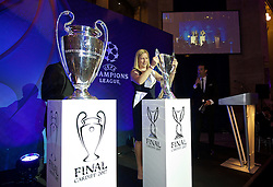 CARDIFF, WALES - Wednesday, August 31, 2016: Wales women's team manager Jayne Ludlow delivered the Women's Champions League Trophy during a gala dinner at the Cardiff Museum to launch the UEFA Champions League Finals 2017 to be held in Cardiff. (Pic by David Rawcliffe/Propaganda)