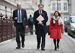 © Licensed to London News Pictures. 15/11/2017. London, UK. Richard Ratcliffe (C) arrives at the Foreign Office with Tulip Siddiq MP (R)  to meet with Boris Johnson. Mr Ratcliffe's wife, Nazanin Zaghari-Ratcliffe, is currently serving a five-year prison sentence after being arrested at Tehran airport in April 2016 as she attempted to return home from a visit to see her family. Her sentence may be increased after Foreign Secretary Boris Johnson mistakenly said she was in Iran to train journalists. Photo credit: Peter Macdiarmid/LNP