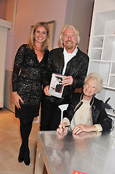 Left to right, HOLLY ANDREWS, RICHARD BRANSON and his mother EVE BRANSON at a party to celebrate the publication of Mum's The Word by Eve Branson held at Grace, West Halkin Street, London on 11th March 2013.