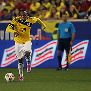Camilo Zuniga, Colombia, in action during the Columbia Vs Canada friendly international football match at Red Bull Arena, Harrison, New Jersey. USA. 14th October 2014. Photo Tim Clayton